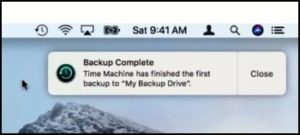 Time Machine ha completato il backup